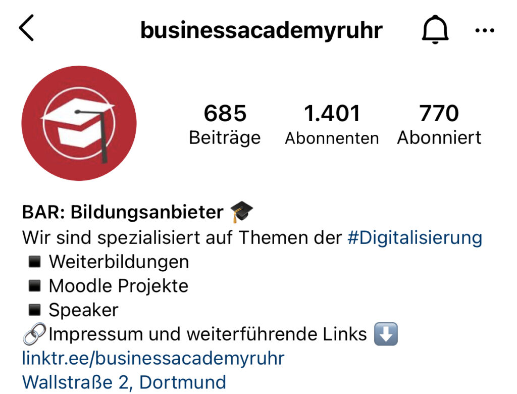 Instagram Biografie der Business Academy Ruhr