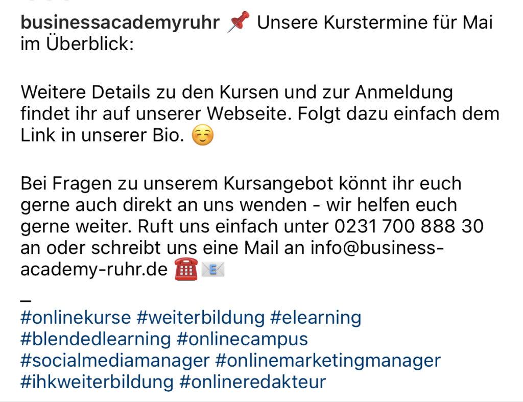 Beispiel Screenshot Business Academy Ruhr Post mit Hashtags